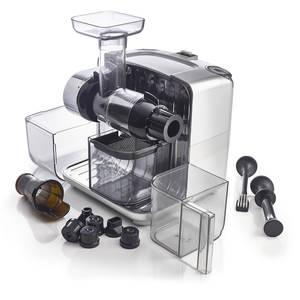 Odšťavňovač Omega Cube 302 stříbrný, otevřený