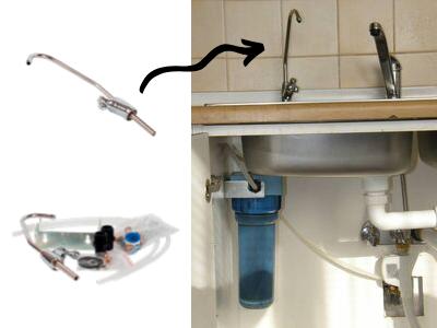 připojení vodovodního filtru Rainfresh pod dřez